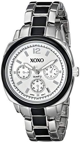 XOXO Damen XO112 Silver Dial Silver-tone and Black Enamel Bracelet Armbanduhr