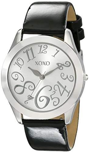 XOXO Damen XO3177 Silver Dial Black Patent Strap Armbanduhr