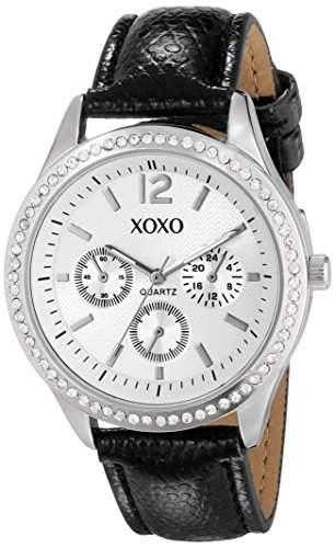 XOXO Damen XO3179 Silver Dial Black Lizard Strap Armbanduhr