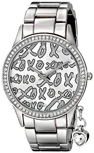 XOXO Damen XO5144 Silver-Tone Bracelet With Heart Charm Armbanduhr