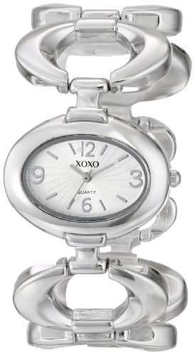 XOXO Damen-Armbanduhr Armband Metall Silber Gehäuse + Quarz Analog XO5206
