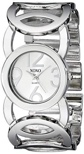 XOXO Damen-Armbanduhr Armband Metall Silber Gehäuse + Quarz Analog XO5210