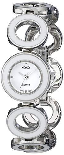 XOXO Damen-Armbanduhr 22mm Armband Plastik Silber Gehäuse Metall Quarz Zifferblatt Weiss Analog XO5212