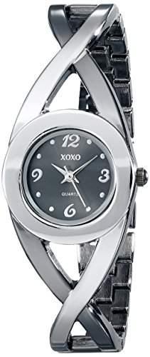 XOXO Damen XO5218 Black Dial Two-Tone Half Cuff and Half Bracelet Armbanduhr