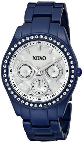 XOXO Damen XO5299A Rhinestone Accent Dark Blue Enamel Bracelet Armbanduhr