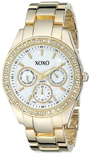 XOXO Damen-Armbanduhr 38mm Armband Metall Gold Gehäuse + Quarz Zifferblatt Weiss Analog XO5302A