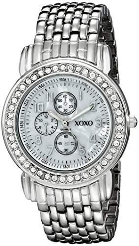 XOXO Damen XO5314 Silver-tone Bracelet With Rhinestones Accent Armbanduhr