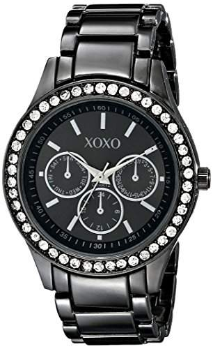 XOXO Damen XO5333 Gun-metal Bracelet With Rhinestones Accent Armbanduhr