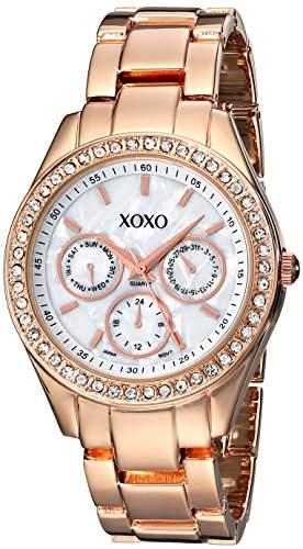 XOXO Damen-Armbanduhr 37mm Armband Metall Gold Gehäuse + Quarz Zifferblatt Weiss Analog XO5386