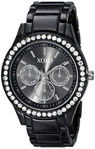 XOXO Damen XO5403 Black Enamel Bracelet With Rhinestones Accent Armbanduhr