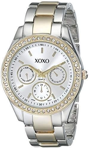 XOXO Damen-Armbanduhr 38mm Armband Metall Gold Gehäuse + Quarz Zifferblatt Silber Analog XO5429