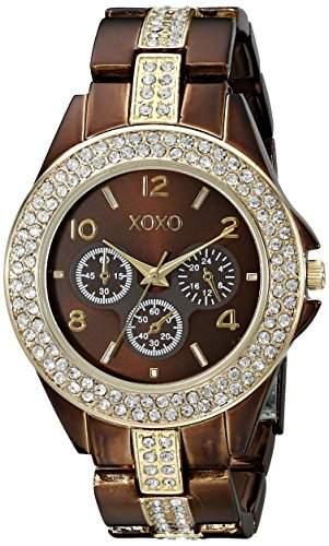 XOXO Damen XO5455 Rhinestone Accent Chocolate Brown Analog Bracelet Armbanduhr