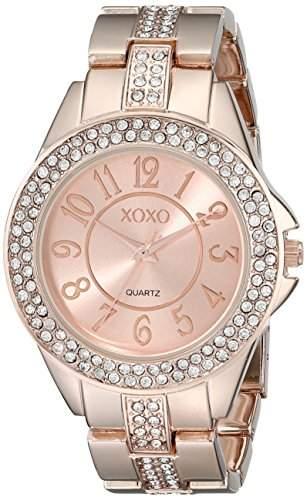 XOXO Damen XO5466 Rhinestone Accent Rose Gold Analog Bracelet Armbanduhr