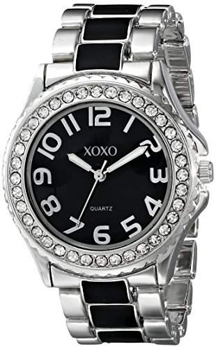 XOXO Damen XO5471 Silver-Tone with Black Epoxy Analog Bracelet Armbanduhr