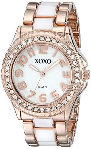 XOXO Damen XO5472 Rose Gold-Tone and White Epoxy Bracelet Armbanduhr
