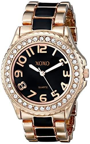XOXO Damen XO5473 Rose Gold Tone and Black Epoxy Bracelet Armbanduhr