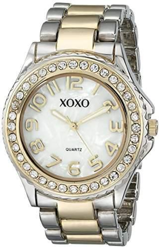 XOXO Damen XO5474 Rhinestone Accent Two-Tone Analog Bracelet Armbanduhr