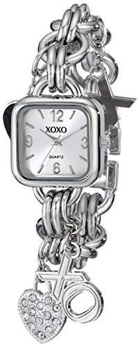 XOXO Damen-Armbanduhr Armband Metall Silber Gehäuse + Quarz Analog XO7026