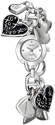 XOXO Damen XO7030 Silver Dial Silver-tone Heart Charms Armbanduhr