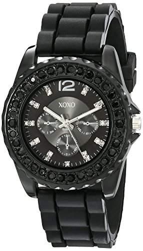 XOXO Damen XO8041 Rhinestone Accent Black Silicone Strap Armbanduhr
