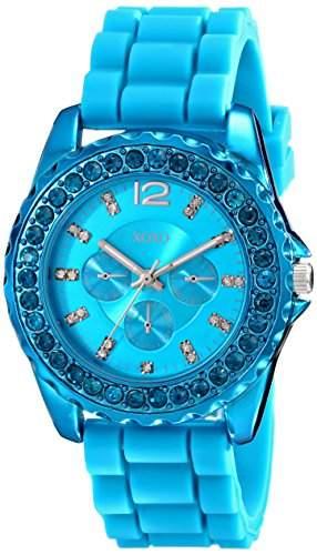 XOXO Damen XO8043 Rhinestone Accent Turquoise Silicone Strap Armbanduhr