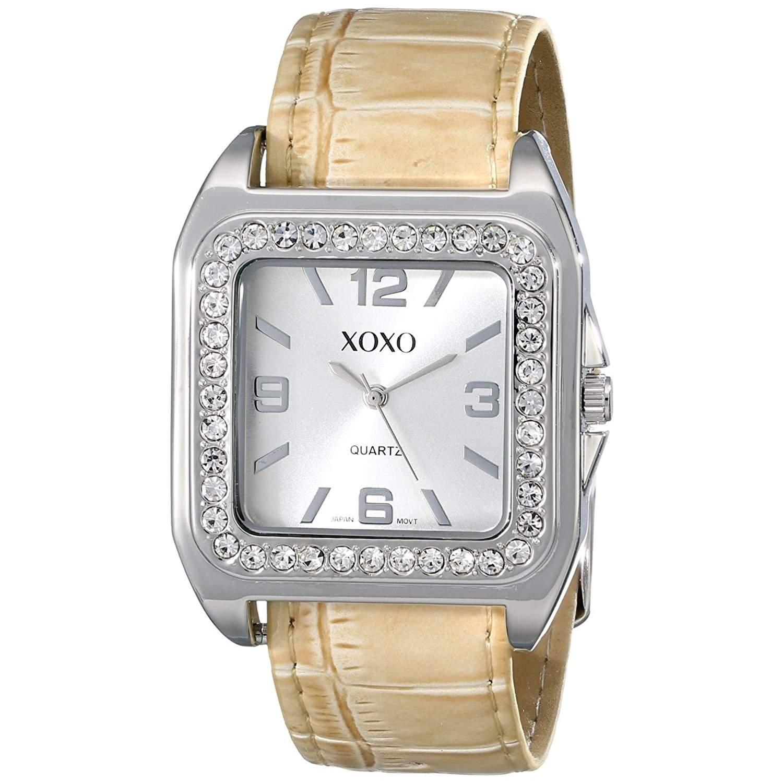 XOXO Damen-Armbanduhr 36mm Armband Kunststoff Beige Gehäuse Metall Quarz Zifferblatt Silber Analog XO9023