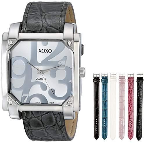 XOXO Damen-Armbanduhr 36mm Armband Kunststoff Grau Gehäuse Metall Quarz Zifferblatt Silber Analog XO9024