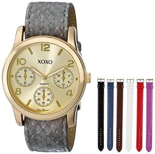 XOXO Damen-Armbanduhr 38mm Armband Kunststoff Grau Gehäuse Metall Quarz Zifferblatt Gold Analog XO9027