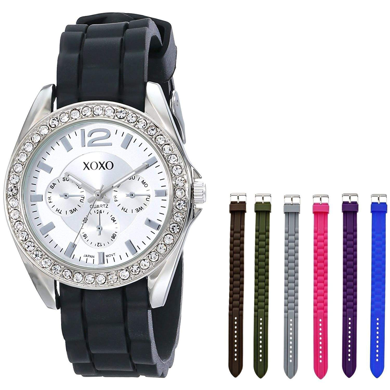 XOXO Damen XO9028 Armbanduhr Set with Seven Interchangeable Silicone Rubber Straps