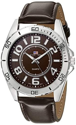 US Polo Assn Classic Herren US5163EXL Brown Dial Extra Long Brown Strap Armbanduhr