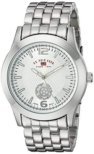 US Polo Assn Classic Herren US8440 Silver Dial Silver-Tone Bracelet Armbanduhr
