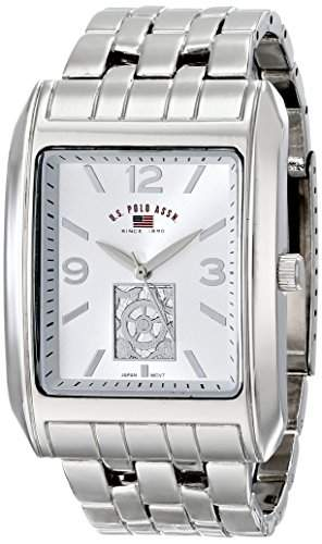 US Polo Assn Classic Herren US8441 Silver Dial Silver-Tone Bracelet Armbanduhr