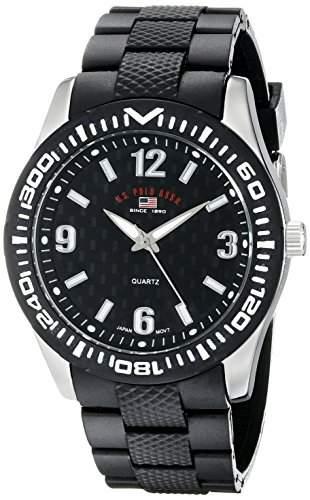 US Polo Assn Sport Herren US9077 Black Rubber Analog Armbanduhr