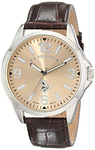 US Polo Assn Classic Herren USC50006 Oversized Gold Dial Leather Strap Armbanduhr