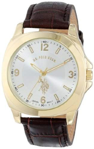 US Polo Assn Classic Herren USC50011 Analogue Silver Dial Leather Strap Armbanduhr
