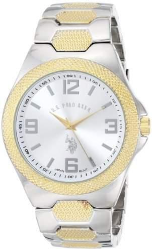 US Polo Assn Classic Herren USC80002 Rimmed Bezel Silver Dial Link Armbanduhr