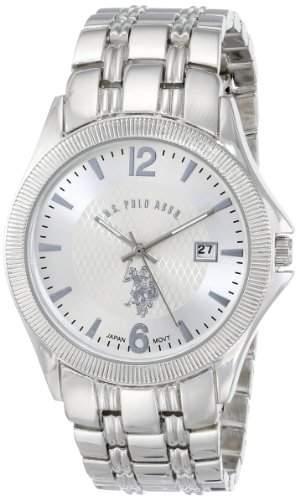 US Polo Assn Classic Herren USC80008 Rimmed Bezel Silver Dial Bracelet Armbanduhr