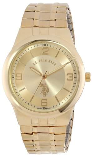 US Polo Assn Classic Herren USC80023 Round Analogue Gold Dial Expansion Armbanduhr
