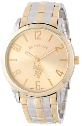 US Polo Assn Classic Herren USC80033 Two-Tone Gold Dial Bracelet Armbanduhr