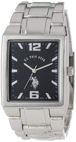 US Polo Assn Classic Herren USC80035 Rectangular Black Dial Metal Link Armbanduhr