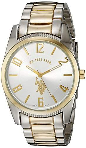 US Polo Assn Classic Herren USC80044 Two-Tone Silver Dial Metal Link Armbanduhr