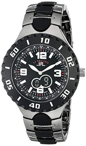 US Polo Assn Herren-Armbanduhr 45mm Armband Metall Silber + Gehaeuse Batterie Zifferblatt Schwarz US8304