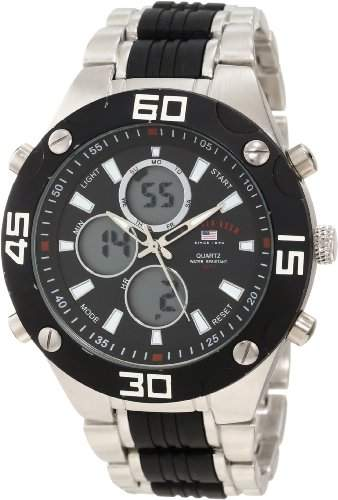 US Polo Assn Classic Herren US8532 Silver-Tone and Black Analog-Digital Armbanduhr