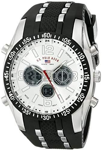 US Polo Assn Sport Herren US9061 Armbanduhr with Black Rubber Strap Armbanduhr