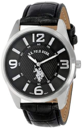 US Polo Assn Classic Herren USC50010 Analogue Black Dial Leather Strap Armbanduhr