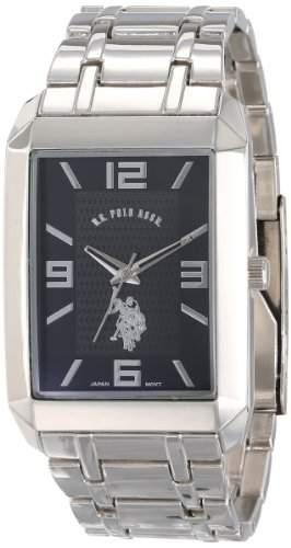 US Polo Assn Herren-Armbanduhr Armband Metall Silber + Gehaeuse Quarz Zifferblatt Schwarz USC80003