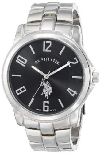 US Polo Assn Classic Herren USC80041 Analogue Black Dial Metal Link Armbanduhr