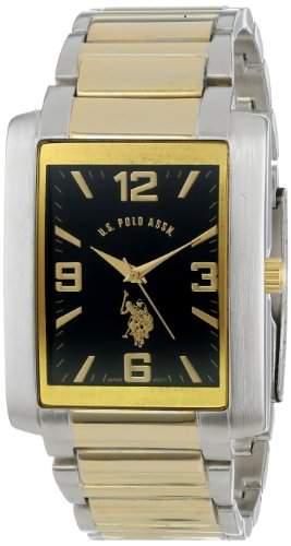 US Polo Assn Herren-Armbanduhr Armband Metall Gold + Gehaeuse Quarz Zifferblatt Schwarz Analog USC80043