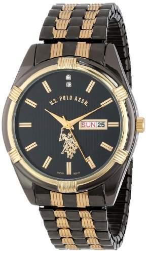 US Polo Assn Classic Herren USC80047 Gun-Metal Day-Date Black Dial Dress Armbanduhr