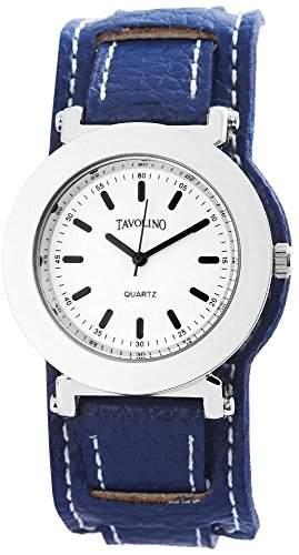 Tavolino Uhr Armbanduhr Echt Lederband blau analog